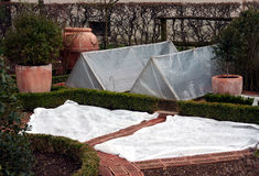 Covered garden bed Royalty Free Stock Photo