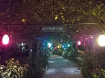 Covered garden walkway at night Royalty Free Stock Photography