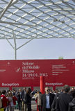 Covered glass roof of Fiera Milano, during Salone del Mobile fair in Milan Stock Photo