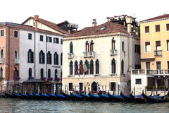 Covered gondolas on on a venetian Canal, Venice, Italy Stock Photography