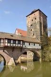 Covered Henkersteg bridge in Nuremberg Royalty Free Stock Image