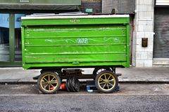 Covered market stall on wheels. Royalty Free Stock Images