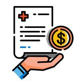 Covered medical expense LineColor illustration stock illustration