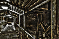 Covered Metal Bridge on a Snowy Night - Grunge Royalty Free Stock Photos