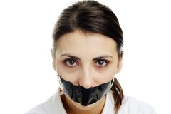 Covered mouth Royalty Free Stock Image