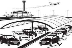 Covered parking at airport terminal. With cars - vector illustration Stock Photo