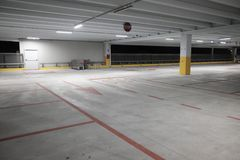 Covered parking empty mall. Empty covered parking day mall Royalty Free Stock Photo