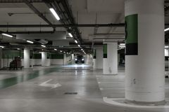 Covered parking mall. In the city Royalty Free Stock Photography