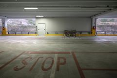 Covered parking mall. With shopping carts Royalty Free Stock Images
