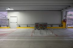 Covered parking mall. With shopping carts Royalty Free Stock Photo