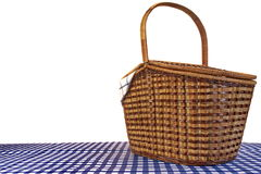 Covered Picnic Basket On The Blue Checkered Tablecloth White Iso Stock Images