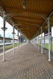 The covered platform of railway station New Peterhof, Russia Royalty Free Stock Photos