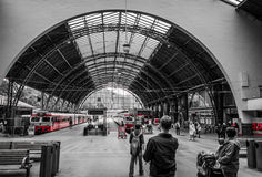 Covered platform of the train station in Bergen Stock Image