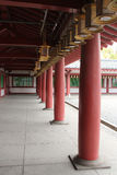 Covered porch in the Shitenno-ji temple in Osaka, Japan Stock Photography