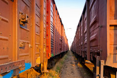 Covered rail wagons for cargo Stock Images