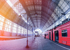 Covered railway station Royalty Free Stock Photo