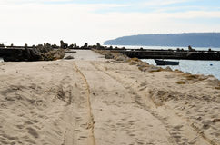 covered with sand road on the beach Royalty Free Stock Photo