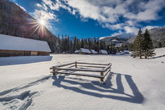 Covered by snow mountain cottages in the Tatra Mountains in winter Royalty Free Stock Photo