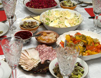 The covered table. Stock Photos