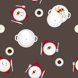 Covered table, cutlery, tea, food. Royalty Free Stock Images