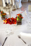 Covered table in the restaurant Stock Images