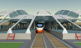 Covered train station. Front view. 3d rendering vector illustration