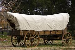 Covered Wagon. Old Western Style Covered Wagon Lots of Room for Text stock photo