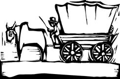 Covered Wagon. Western woodcut style image of a covered wagon and ox Stock Photos