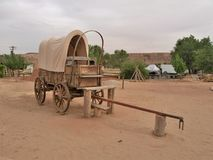 Covered Wagon at Bluff Fort Historic Site in Bluff, Utah. The Historic Bluff Fort site give visitors a glimpse into early pioneer life and provide a unique royalty free stock photo
