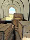 Covered Wagon. Crates inside a covered wagon at Ft. Union New Mexico royalty free stock photos