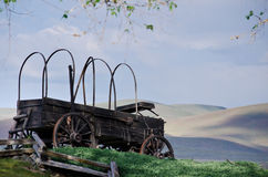 Covered Wagon At The Edge Of The Desert Royalty Free Stock Photo
