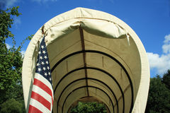 Covered Wagon With Flag Royalty Free Stock Photo