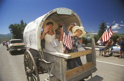 Covered Wagon in July 4th Parade, Lima, Montana Royalty Free Stock Photo