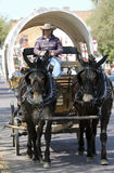 A Covered Wagon, Mule Team and Driver Royalty Free Stock Image