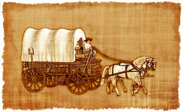 Covered Wagon Parchment-2 Royalty Free Stock Photography