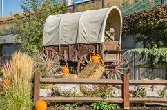 Covered Wagon with Pumpkins Stock Photos