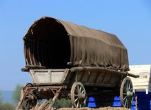 Covered Wagon. On rural scene stock image