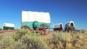 Covered Wagon Train Circled In Camp Along The Oregon Trail Stock Photography