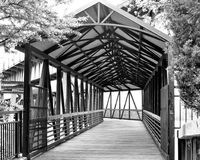Covered Walking Bridge Crossing Fox River - Saint Charles, IL royalty free stock images