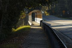 Covered Walkway Sidewalk and Plants Royalty Free Stock Photography