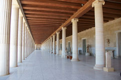 Covered walkway and Greek columns Royalty Free Stock Images