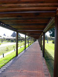 Covered walkway at hotel Stock Images