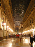 Covered walkway in Milano, Italy. A covered walkway/ grand interior hallway in Milano, Italy royalty free stock images
