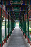 Covered walkway in old traditional park in Beijing,  China Royalty Free Stock Photos