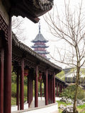 Covered walkway and pagoda in classical Chinese garden Stock Photography