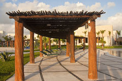 Covered Walkway at Resort Pool Royalty Free Stock Photography