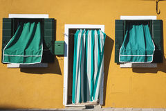 Covered windows and door, Burano, Italy Stock Photography