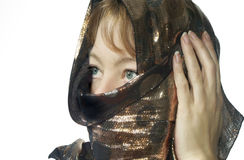 Covered woman. Woman covered with a scarf *resubmit wrong model release,sorry royalty free stock images