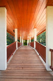 Covered wooden bridge. Royalty Free Stock Images