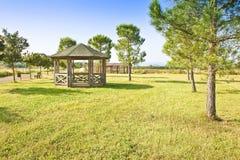 Covered wooden gazebos in a italian countyside Tuscany - Italy Stock Photos